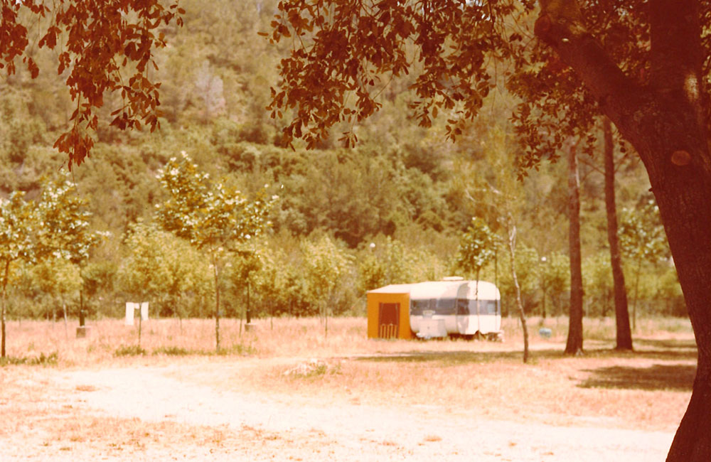 One of the first caravans at Esponellà Campsite